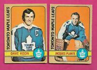 1972-73 OPC LEAFS JACQUES PLANTE GOALIE + DAVE KEON GOOD CARD (INV# D1715)
