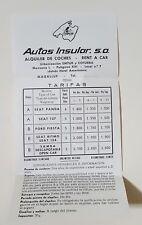 Vintage Travel Memoribilia Rental Car Autos Insular Spain