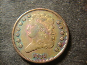 1832  VF XF Solid Classic Head Half Cent  Low Mintage Rare Date ABQ