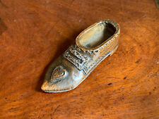 18th Century Georgian treen shoe shaped snuff box with silvered buckle & heart