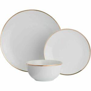 White & Gold Band Porcelain 12 Piece Dinner Set Plates Bowls
