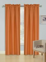 2 PANELS ROD POCKET FOAM LINED THERMAL BLACKOUT WINDOW CURTAIN DRAPE R64 ORANGE