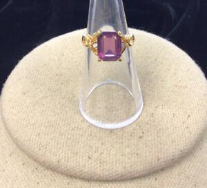 Gold Tone Imitation Amethyst & Cz Fashion Ring Sz 6 HH266