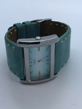 Guess Ladies Teal Leather Cuff Quartz Watch Square (195)