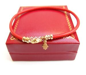 red string kabbalah bracelet hamsa hand luck evil eye 14 k gold leather cord new
