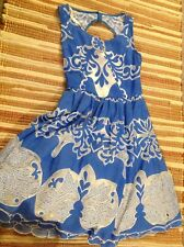Anthropologie Plenty by Tracy Reese Azure Blue White Lace Sleeveless Dress 0
