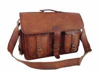 Leather Briefcase Messenger Bag 17 In Laptop Satchel Office Shoulder Bag Vintage