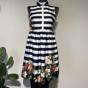 Size 8 Womans LIZ CLAIBORNE Striped Floral Sleeveless Shirt Dress