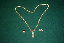 """Vintage Nolan Miller Signed Faux Pearl Necklace 25"""" with Matching Earrings"""