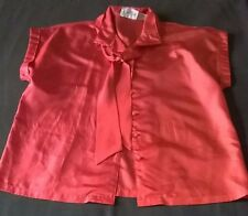 Women's Red Shirt SHAPELY Cap Sleeve Button Front with Neck Tie 100% Polyester