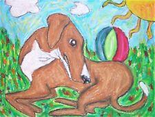 AZAWAKH Eye on the Ball Dog Outsider Pop Folk Vintage Art 8 x 10 Signed Print