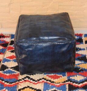 MOROCCAN LEATHER POUF Cube Pouf Ottoman Square Moroccan Pouf Dark Blue