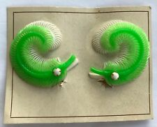 """Vintage Earrings - Apple Green and White """"2 Feather Boa"""" Clip on Earrings"""