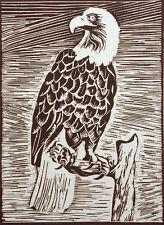 """Lester Hines """"Bald Eagle"""" Hand Signed & Numbered Linocut Art 1978 Make Offer!"""