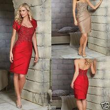 Red Short Sleeve Jacket Satin Applique Short Mother of the Bride Dress Formal