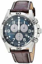 New Citizen Eco Drive Brycen Chrono Leather Band Men's Titanium Watch BL5551-06L