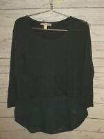 Michael Kors Women's  Shirt Top Blouse Black Long Sleeve Logo Size M Medium