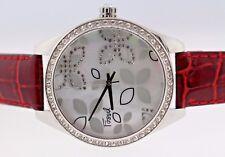 Fossil ES-2154 MOP Flower Dial Crystal Bezel Red Leather Quartz Women's Watch
