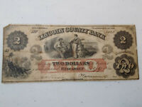 Wiscasset, Maine, $2.00,1862 Obsolete Note, The Lincoln County Bank of Wiscasset