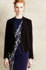 New Anthropologie Elevenses Dimmet Black Open Eyelash Trim Lace Blazer XSP  $128