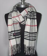 New Fashion100% Cashmere Scarf White Check Plaid Scotland Made Wool Unisex(#A8vt