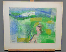 "Rosemary Zwick ""Girl"" Abstract Watercolor Painting Signed Chicago Listed Artist"