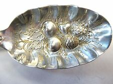 Antique Tiffany Sterling Berry Serving Spoon Hand Chased w/ Fruit in Bowl 3.25oz