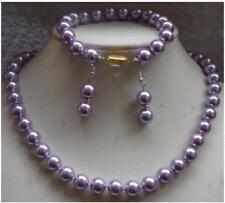 8MM Dark Purple South Sea Shell Pearl necklace earrings Bracelet Set