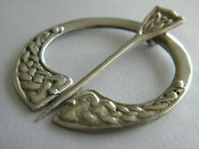 VINTAGE PENANNULAR SILVER STAMPED PIN BROOCH ~ Made in Scotland 40mm diameter
