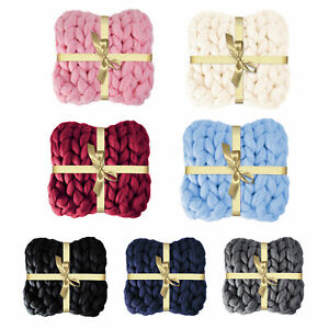 Large Soft Chunky Knit Chenille Thick Blanket Hand-woven Throw Sofa Bed Blanket