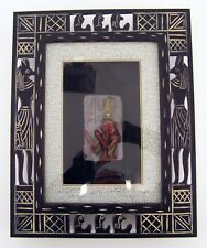 Wandbild ägyptische Kunst Bild im Rahmen Holz Figur Ägypterin ca. 32 x 40 cm