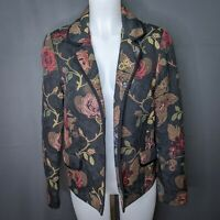 Coldwater Creek Womens Blazer Jacket Medium Floral Tapestry Open Front Career