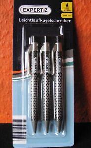 Leichtlaufkugelschreiber (EXPERTiZ) - 3 Stück, Carbonstyle, blaue Mine (ISO)