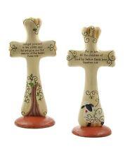 Lot of 2 Crosses Psalm 36:4 & Galatians 3:26 Sheep Tree Christian Resin Blossom