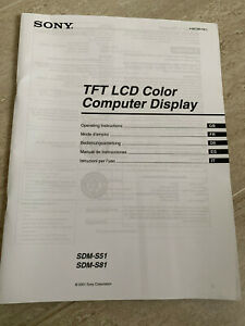 Sony Manual TFT LCD Color Computer Display - SDM-S51, SDM-S81 - Good clean cond