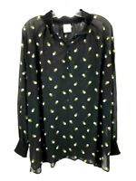 CAbi Blouse Womens XL Black Floral Embroidered Blouse Sheer Top Style 5338