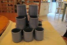 La Fermiere, 15 Terra Cotta, Glazed Yogurt Pots.Perriwinkle Blue.