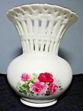 "Pretty ""Formalities by Baum Bros."" Ivory Porcelain Lattice Vase ~ Pink/Red Roses"