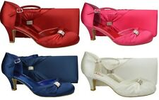 WOMENS SATIN DIAMANTE LOW HEEL MARY JANE PROM PARTY WEDDING SHOES & MATCH BAG
