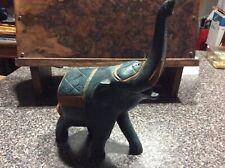 Hand Carved Wood Blue Elephant