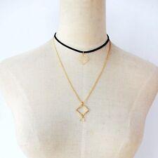 Collana collare collarino Choker doppio filo con Ciondolo Geometrico Metallo !!