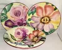 Pfaltzgraff FLOWER MARKET LOT - Soup Bowl & 2 Salad Plates bright colorful flora