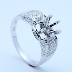 Gift 18K White Gold Real Diamonds Semi Mount 6mm Round Engagement Ring Setting