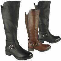 Ladies Biker Boots Women Winter Warm Rider Mid Calf Comfy Gusset Zip Shoes Size