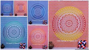 Indian Cotton Ombre Mandala Queen Size Bedcover Boho Tapestry Bedspread Decor
