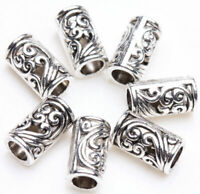 25PCS Tibetan Silver Tube Metal Loose Tube Spacer Beads Jewelry Making Charms