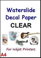 "WATER SLIDE DECAL PAPER - CLEAR A4 INKJET 5 SHEET 8.3"" x 11.7"""
