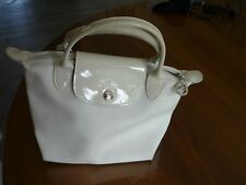sac longchamp pliage cuir et toile blanc petit modèle