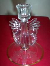 """Paden City Crystal Gazebo 6 1/8"""" Winged Candle Holder w/gold - MINT HARD TO FIND"""