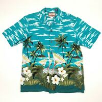 RJC Made In Hawaii Martini Island Floral Hawaiian Button Up Shirt Men's Large